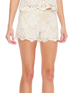 Alice + Olivia Scalloped Lace Shorts