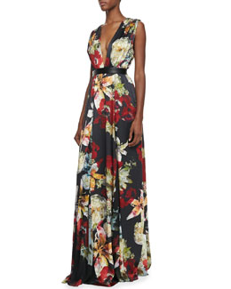 Alice + Olivia Triss Floral-Print Sleeveless Maxi Dress