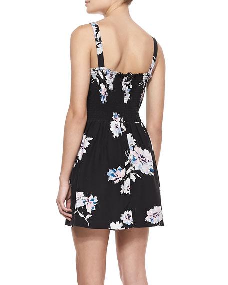 Latelle Sleeveless Floral-Print Silk Dress