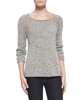 Soft Joie Duran Open-Knit-Shoulder Sweater