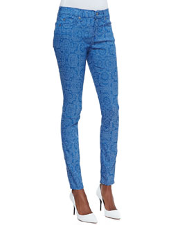 7 For All Mankind The Skinny Jeans, Moroccan Blue Jacquard