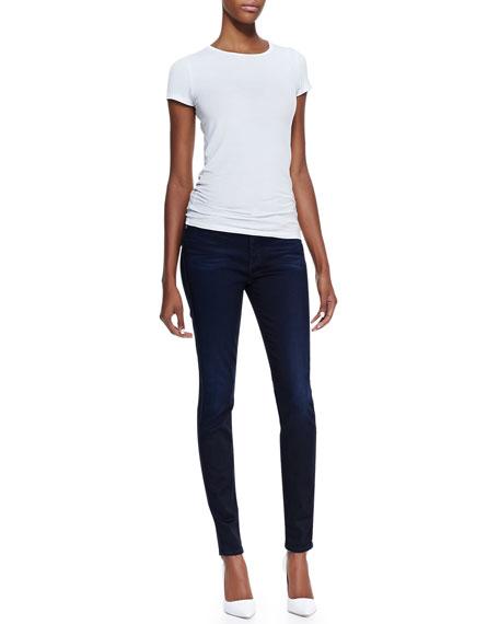 High-Waist Skinny Jeans, Blue Black Sateen