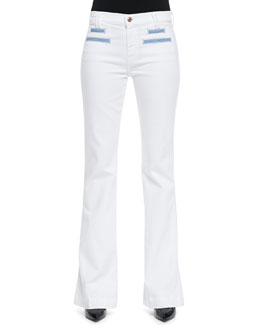 7 For All Mankind Tailored Flare Jeans, White