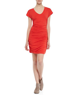 Splendid Fiesta Ruched V-Neck Dress