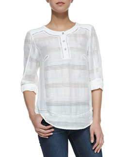 Rag & Bone Tess 3/4-Sleeve Blouse, White