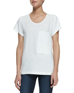 Rag & Bone Short-Sleeve Leather-Pocket Tee, White