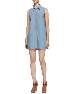 rag & bone/JEAN Sleeveless Chambray Tent Shirtdress