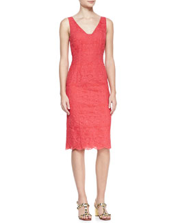 Tory Burch Cameron Scalloped-Hem Lace Dress