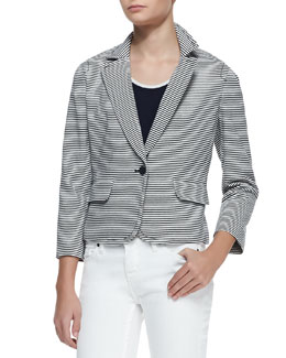 Tory Burch Colleen Striped Cotton Single-Button Jacket