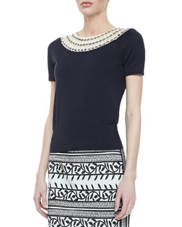 Tory Burch Daisy Embellished-Neck Sweater, Navy