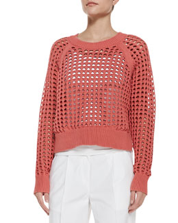 Rebecca Taylor Lattice-Stitch Cropped Knit Sweater