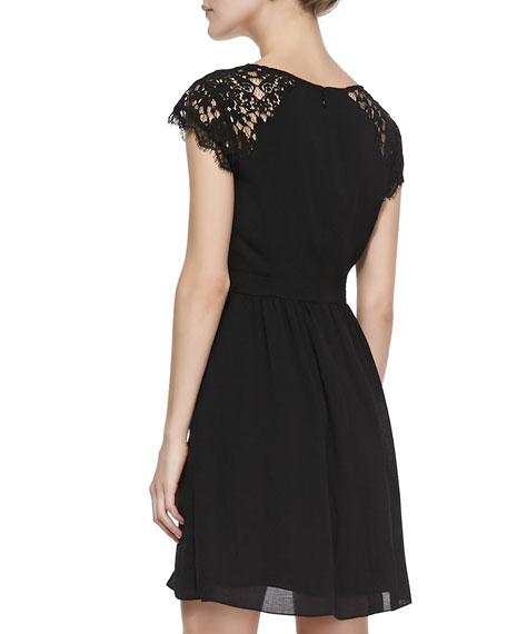 Cap-Sleeve Lace-Yoke Dress