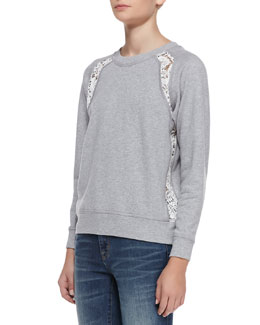 Rebecca Taylor Lace-Panel Knit Sweater