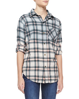 Current/Elliott Plaid Prep School Shirt, Ombre Laurel