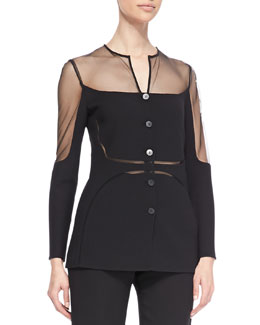 Ralph Rucci Sheer Chiffon-Inset Shadow Jacket, Black