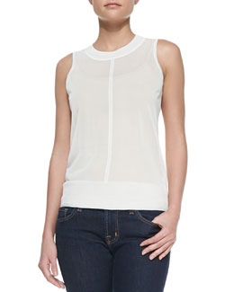 J Brand Ready to Wear Murray Knit-Trim Sheer Tank