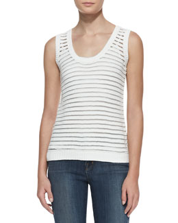 J Brand Ready to Wear Shannon Sheer-Stripe Sweater Tank