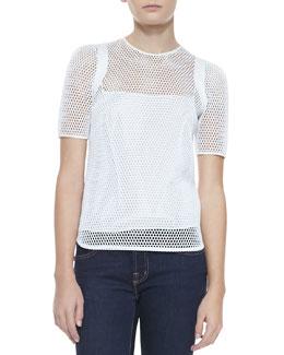 Milly Sheer Mesh Short-Sleeve Tee