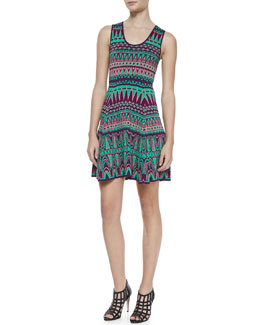 Milly Bright Jacquard Fit-and-Flare Dress