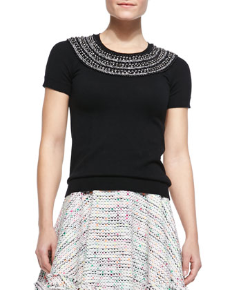 Beaded Short-Sleeve Knit Tee