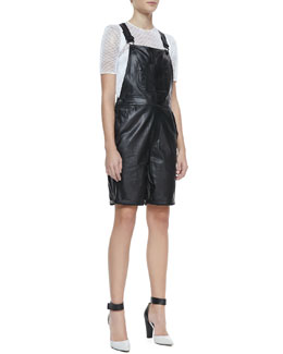 Milly Lambskin Leather Shortalls