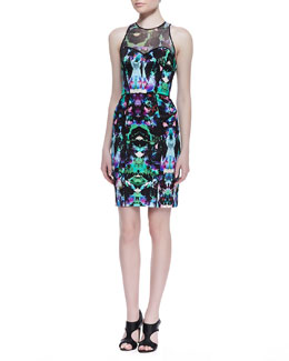 Milly Mesh-Top Graphic Orchid Print Dress, Multicolor