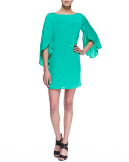 Milly Butterfly-Sleeve Short Shift Dress, Jade