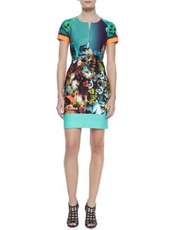 Milly Graphic Front-Zip Scuba Dress