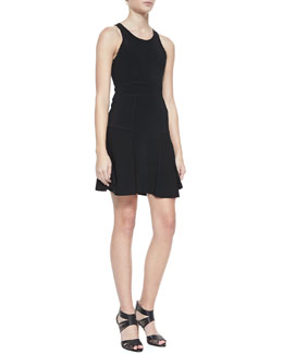 Milly Fit & Flare Sleeveless Ponte Dress