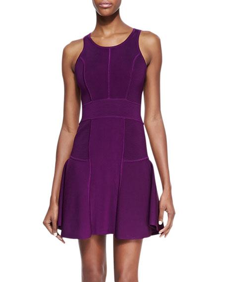 Knit Fit-&-Flare Dress, Plum
