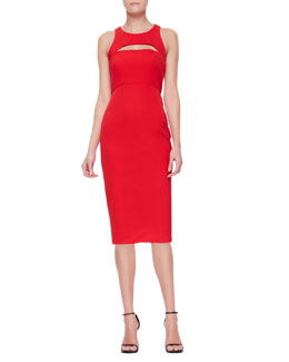 Milly Cutout Slim Sleeveless Keyhole Sheath Dress
