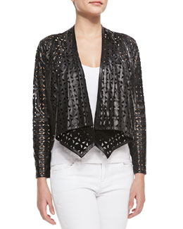 Milly Circle-Perforated Cropped Leather Jacket