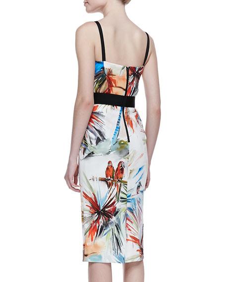 Parrot-Print Bustier Dress