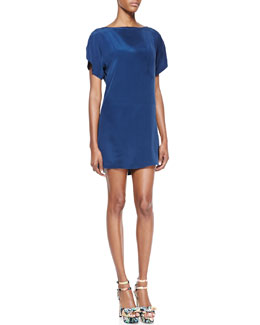Milly Short-Sleeve Silk Dress