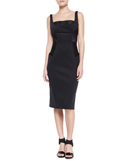 Milly Mesh-Inset Fitted Sheath Dress
