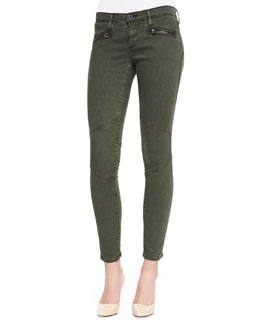 AG Adriano Goldschmied Super Skinny Moto Legging,Sulfur Dark Autumn Olive