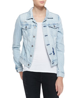 AG Adriano Goldschmied Robyn Denim Jacket, Blue Jay Mend