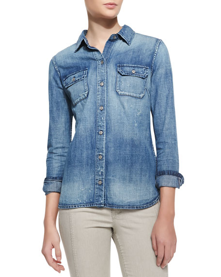 Dakota Distressed Denim Shirt, Vortex Blue