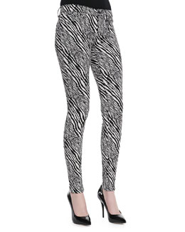 J Brand Jeans Midrise Super Skinny Pants, Abstract Zebra