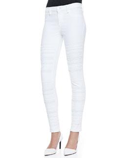 J Brand Jeans Genevieve Super Skinny Studded Jeans, Blanc