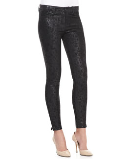 J Brand Jeans Wildcat Leather Skinny Pants, Noir