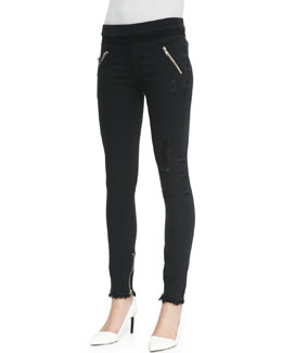 RtA Denim Distressed Zip-Pocket Skinny Jeans, Black Destroyed