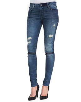 RtA Denim Distressed Knee-Slit Skinny Jeans