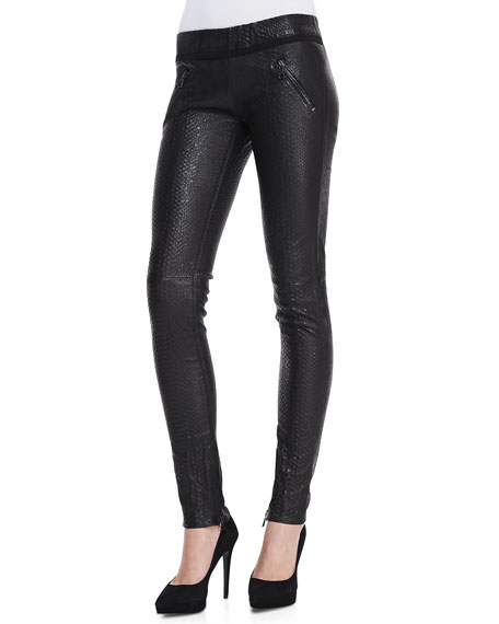 better price for top-rated professional many fashionable Snake-Print Leather Pull-On Skinny Pants