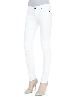 RtA Denim Knee-Slit Skinny Jeans, Optic White