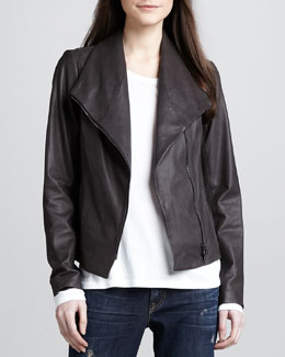 Vince Leather Scuba Jacket, Ash