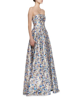 Alice + Olivia Dreema Strapless Printed Floral Gown