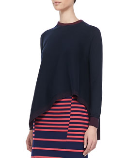 Thakoon Addition Asymmetric Drape-Front Pullover