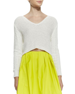 Thakoon Addition Cropped Textured Knit Pullover