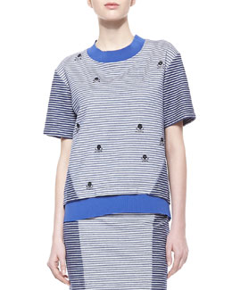 Thakoon Addition Striped Knit-Trim Sweatshirt